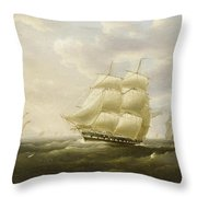 A British Frigate Bowling Down The Channel On A Breezy Day Past The Eddystone Lighthouse Throw Pillow