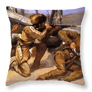 A Brush With The Redskins 1891 Throw Pillow