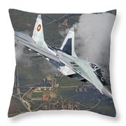 A Bulgarian Air Force Mig-29 In Flight Throw Pillow