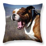 A Bulldog's Mighty Yawn Throw Pillow