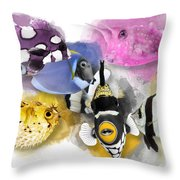 A Bunch Of Colorful Fish No 01 Throw Pillow