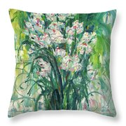 A Bunch Of Orchid Paintings Throw Pillow