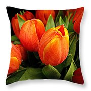 A Bunch Of Tulips Throw Pillow