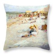 A Busy Beach In Summer Throw Pillow