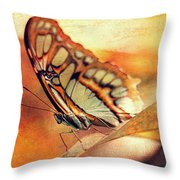 A Butterfly On A Leaf  Throw Pillow