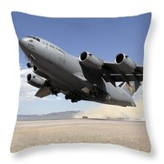 A C-17 Globemaster Departs Throw Pillow