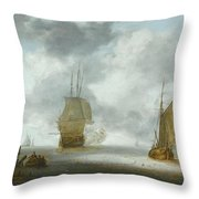 A Calm Sea With A Man Of War And A Fishing Boat Throw Pillow