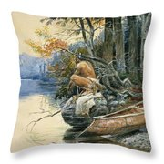 A Camp Site By The Lake Throw Pillow