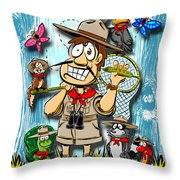 A Camping We Will Go Throw Pillow