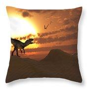 A Carnivorous Allosaurus Calling Throw Pillow