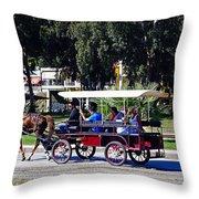 A Carriage Ride Through The Streets Of Katakolon Greece Throw Pillow