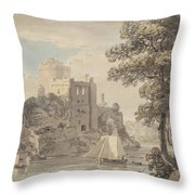A Castle On A River Throw Pillow