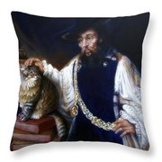 A Cat For Rembrandt_ Aristotle Caresses Calliope Throw Pillow