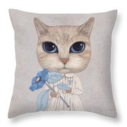 A Cat With A Blue Flower Throw Pillow