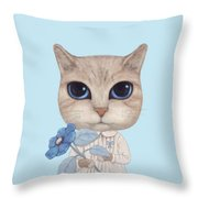 A Cat With A Blue Flower On White Throw Pillow