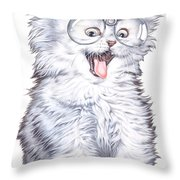 A Cat With Glasses Throw Pillow