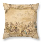 A Ceiling With Apollo Presiding Over Military And Historical Learning Throw Pillow