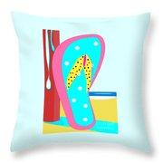 A Chancla On The Beach Throw Pillow