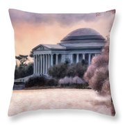 A Cherry Blossom Dawn Throw Pillow by Lois Bryan