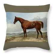 A Chestnut Hunter In A Landscape Throw Pillow