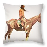 A Cheyenne Brave Throw Pillow by Frederic Remington