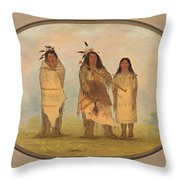 A Cheyenne Chief His Wife And A Medicine Man Throw Pillow