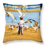 A Child At The Beach Isle Of Palms Sc Throw Pillow