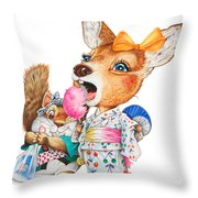 A Child Deer And Squirrel At The Summer Festival Throw Pillow
