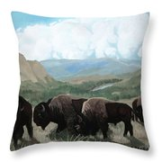A Child Leads The Herd Throw Pillow