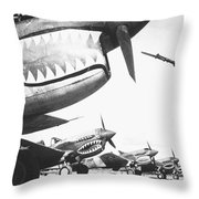 A Chinese Soldier Guards A Line Throw Pillow