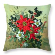 A Christmas Arrangement With Holly Mistletoe And Other Winter Flowers Throw Pillow