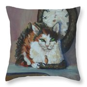 A Clockwork Cat Throw Pillow