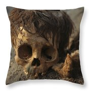 A Close View Of A Human Skull Throw Pillow by Ira Block