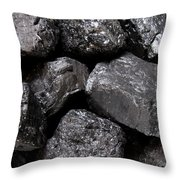 A Close View Of Coal Ready For Burning Throw Pillow