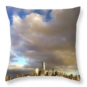 A Cloudscape And Its Cityscape Throw Pillow