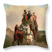 A Coach And Four On An Open Road  Throw Pillow