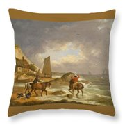 A Coastal Landscape Of The Isle Of Wight With Figures On Horse Back Near A Cottage Throw Pillow