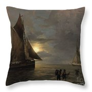 A Coastal Landscape With Sailing Ships By Moonlight Throw Pillow