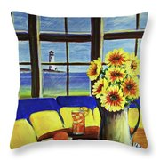 A Coastal Window Lighthouse View Throw Pillow
