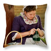 A Colonial Lady Knits Throw Pillow