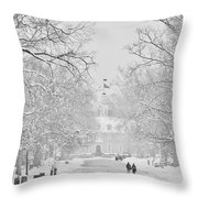 A Colonial White Winter Throw Pillow