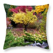 A Colorful Fall Corner Throw Pillow