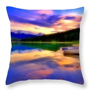 A  Colourful Evening At Lake Patricia Throw Pillow