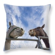 A Conversation Between Two Horses Throw Pillow