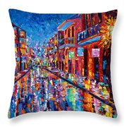 A Cool Night On Bourbon Street Throw Pillow