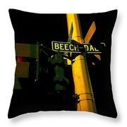 A Corner Of Beech Daly Throw Pillow by Guy Ricketts