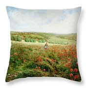 A Corner Of The Field In Bloom Throw Pillow