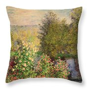 A Corner Of The Garden At Montgeron Throw Pillow by Claude Monet