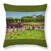 A Corridor Of Purple Sage Flowers And Stachys Lanata Sunlit Throw Pillow