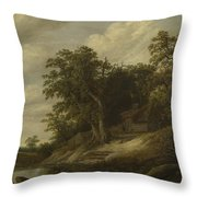 A Cottage Among Trees On The Bank Of A Stream Throw Pillow